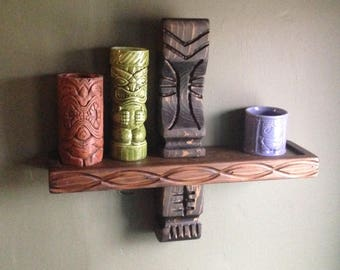 Single witco style carved wood tiki shelf