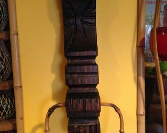 Carved wood tiki bar towel holder witco style