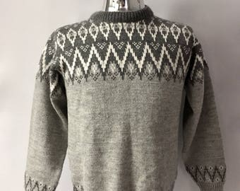 Vintage Men's 80's Norwegian, Wool, Sweater, Gray, Geometric (L)