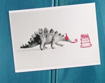 16 Candles Girls Dinosaur Blank Greeting Card