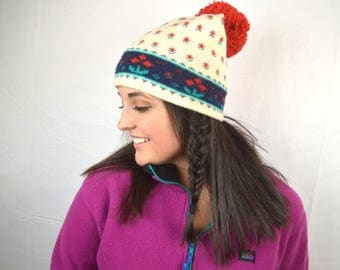 Vintage 80s Wool Ski Knit Winter Hat Pom Pom