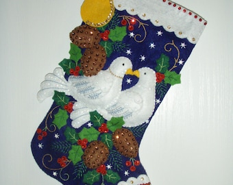 "Bucilla Completed Felt 18""  2 TURTLE DOVES Christmas Stocking"
