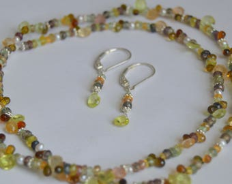 Beaded Necklace, Sapphire, Tourmaline, Chrysoberyl, Topaz, Sunstone, Mandarin Garnet, Pearl Necklace, Free Earrings