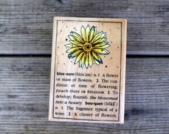 Hero Arts Wood Mounted Rubber Stamp Blossom Dictionary Design