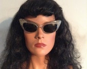 Vintage CAT EYE  50's Pearl Eye ware, Sunglasses.  Made in France.  Aurora borealis rhinestones.