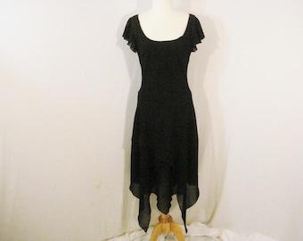 Little Black Dress Asymmetrical Crepe Chiffon Dawn Joy Evening Wear S 4