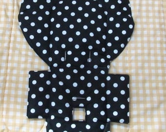 Evenflo replacement cotton high chair pad baby accessory, baby and child kids chair pad, toddler feeding chair pad, black with white dots