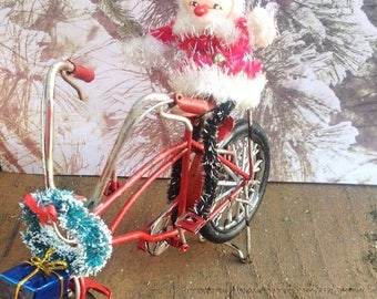 SALE Christmas decorated red bicycle with vintage Santa, wreath, Christmas present. Mantel decor Holiday decoration Christmas decor Holiday