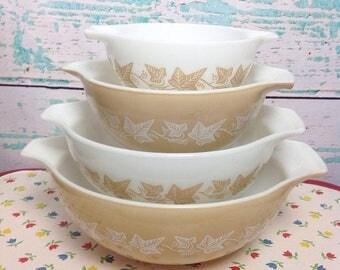 SALE Vtg Pyrex Sandalwood Tan Beige White 441 442 443 444 Cinderella Mixing Bowl Set Baking Cooking Vintage Kitchen Chef Food Storage
