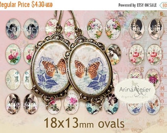 SALE 30%OFF - Vintage Mix Ovals Micro slides for earrings - 18x13mm - Digital Collage - Collage Images - Digital Images - Digital Ovals