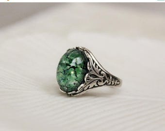 VACATION SALE- Green Opal Ring. Antique Silver or Antique Brass