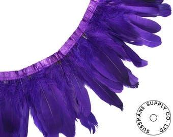 "Feather Trim - Goose Feather Satinette Fringe Trims - Purple - 5""-7"" (1 yard)"