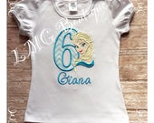 Elsa Birthday Shirt with number, Applique Frozen shirt, Frozen Inspired Personalized shirt, Elsa shirt, Frozen Birthday Shirt