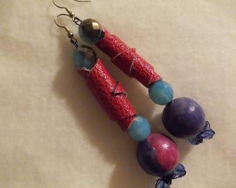 Fuchsia Leather Dangle earrings