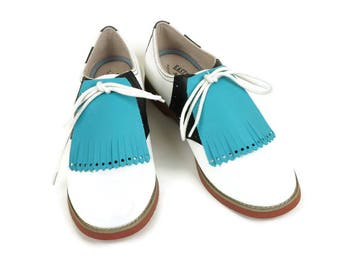 Turquois Kilties for Ladies Golf Shoes, Golf Gifts, Gift Ideas for Mom, Golf Presents, Golf Gifts, Swing Dance Lindy Hop Tassel Shoes