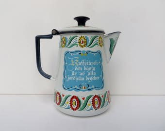 White Enamelware Coffee Pot Bright Swedish Berggren Rustic Farmhouse Kitchen