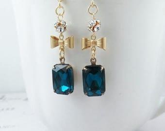 SALE 50% off Blue Rhinestone Earrings Bow Earrings Blue Earrings Gift for Her Vintage Style December Birthstone