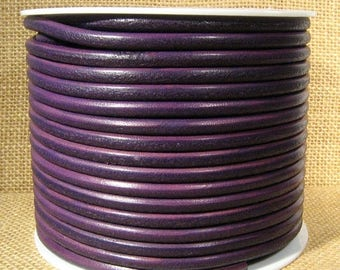 High End Portuguese 5mm Round Leather - Purple - 5RP-9 - Choose Your Length