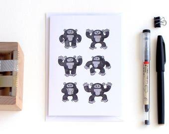 A6 King Kong card –illustrated greeting card