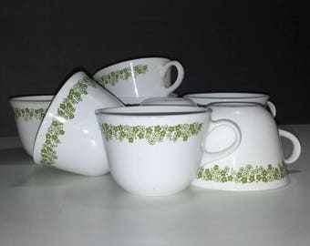 Corelle Spring Blossom Green Cups Set of 8 / 1970s Corelle Livingware Spring Blossom Green Flat Cups Set of 8