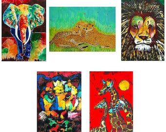 Greeting cards - set N - beautiful high quality fine art cards - all from original art