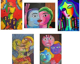 Greeting cards - set F - beautiful high quality fine art cards - all from original art