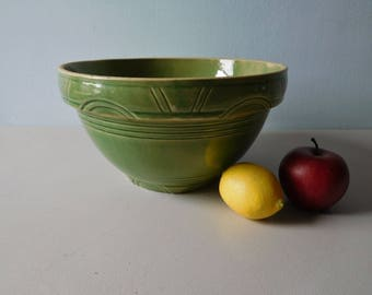Antique yellow ware green dough bowl number 10 deco style