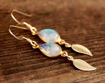 ON SALE Rainbow Moonstone and Feather Earrings  - 14KT Gold Fill