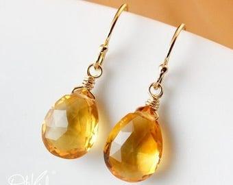ON SALE Golden Citrine Earrings - November Birthstone - 14K Gold Filled or Silver