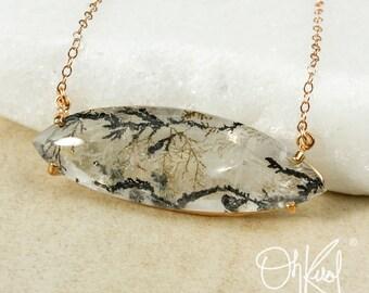Natural Dendrite Quartz Necklace - Horizontal Pendant - Sideway Necklace