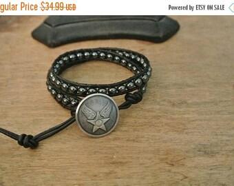 SALE 60% OFF Midnight Rider Hematite  Beaded Black Leather Wrap Bracelet