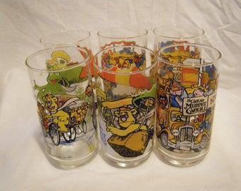 Vtg Set of 6 The Great Muppet Caper glasses 1981 McDonald's