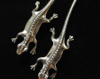 Sterling Silver Lizard or Salamander Earrings