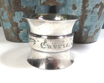 Silver CARRIE Napkin Ring Vintage Engraved Flared Drum Shaped Victorian Silver Plate Napkin Ring