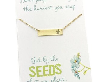 Gift for LDS sister missionary, Sister Missionary Necklace, Missionary Gifts, Gold or Silver Bar Necklace with stamped twig, carded Jewelry