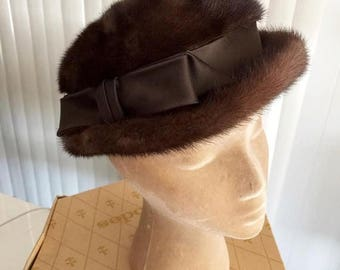 Memorial Day Sale 25% OFF Vintage 1950's 1960's High Fashion Ladies Mink Bowler Style Hat lined in Gold with original box