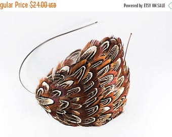 ON SALE Natural Almond Ringneck Pheasant Feather Headband