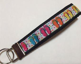 Summer Time Flip Flops Key Fob Keychain wristlet