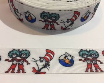 3 Yards of Ribbon 1 inch Wide - White Dr Seuss Cat in the Hat Thing 1 Thing 2