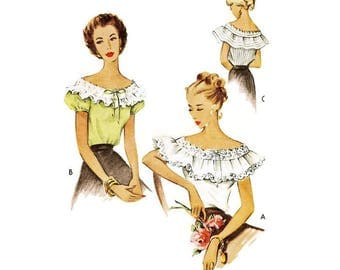 1940s Romantic Off The Shoulder Blouse Pattern McCall 7197 B32 Sz 12