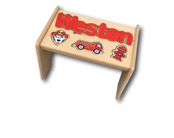 Red Firetruck Puzzle Stool (9-12 letters)