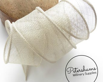 Hand Rolled Sinamay Ribbon Trim for Millinery, Hat Making & Fascinators - Pale Grey