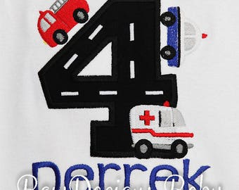 Emergency Responders Birthday Shirt or Bodysuit, Emergency Responders Vehicles, Rescue Vehicles, First Responsers Party, 1st, 2nd, 3rd, 4th