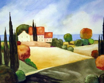 Tuscan Hills #2 - Watercolor Painting