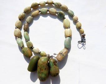 Ancient amazonite necklace with ancient excavated neolithic amazonite pendants