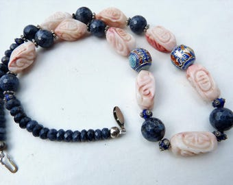 Chinese style necklace with silver enamel Mandarin Court beads, natural faceted sapphire and carved shell beads