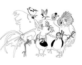 minimalist watercolor print: Bird Orgy