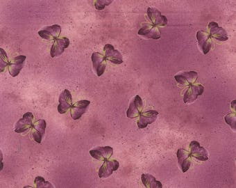 Kanvas by Benartex - Floral Impressions - Butterfly Wash - Rose w/ Metallic Gold - Fabric by the Yard 8674MB-22
