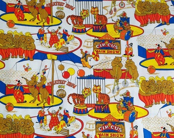 10 YARDS of The GREATEST Show on Earth CIRCUS Novelty Print Fabric, Lions, Elephants & Clowns, Vintage Fabric, 60s Fabric, 70s Fabric