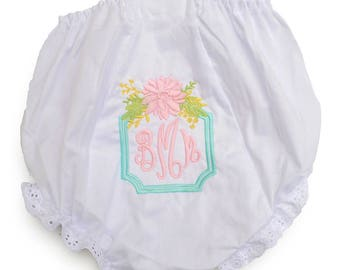 Baby Bloomers / Baby Shower Gift / Custom Baby Bloomers / Floral Bouquet Diaper Cover